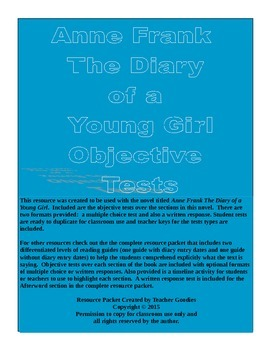 Anne Frank The Diary of a Young Girl Objective Tests