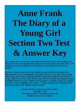 Anne Frank The Diary of a Young Girl Section 2 Test and Key Common Core Aligned