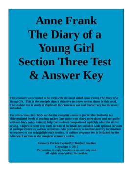 Anne Frank The Diary of a Young Girl Section 3 Test and Ke