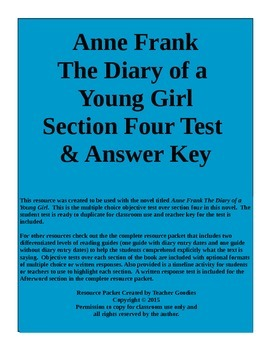 Anne Frank The Diary of a Young Girl Section 4 Test and Key Common Core Aligned