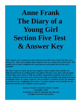 Anne Frank The Diary of a Young Girl Section 5 Test and Key Common Core Aligned