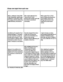 Anne Frank Think-Tac-Toe Culminating Prject