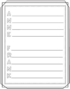 Anne Frank Timeline Poster Acrostic Poem Activity with Reading Passage