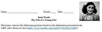 Anne Frank Video Worksheet