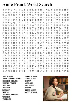 Anne Frank Word Search