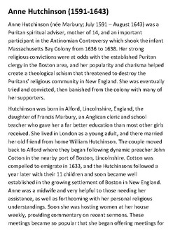 Anne Hutchinson Handout with activities