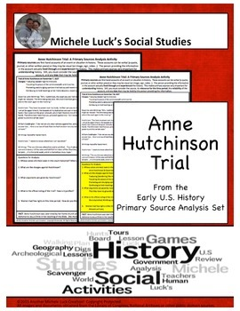 Anne Hutchinson Puritan Trial American Document Analysis Activity