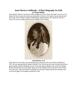 Anne Morrow Lindbergh - A Short Biography for Kids