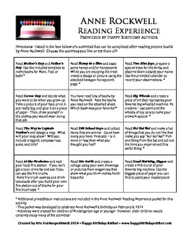 Anne Rockwell Reading Experience