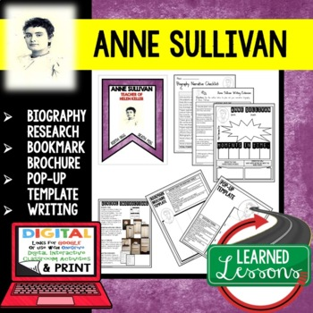 Anne Sullivan Biography Research, Bookmark Brochure, Pop-Up, Writing