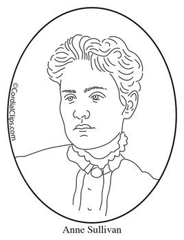 Anne Sullivan Clip Art, Coloring Page or Mini Poster