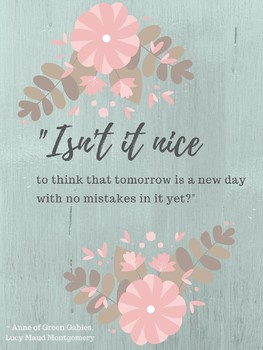 Anne of Green Gables Growth Mindset Classroom Decor Lucy Maud Montgomery