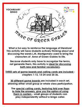 Anne of Green Gables Vocabulary Bingo