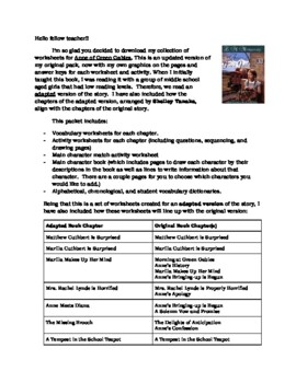 Anne of Green Gables Worksheet Pack
