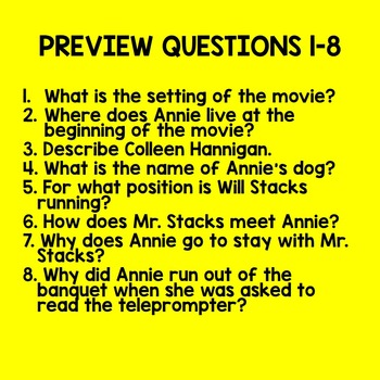 Annie (2014) Movie Questions End of the Year Activity