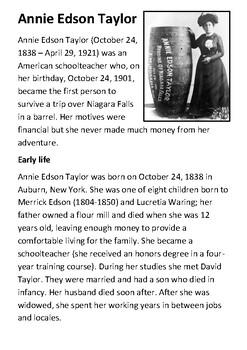 Annie Edson Taylor Handout