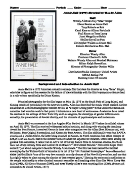 Annie Hall Film (1977) Study Guide Movie Packet