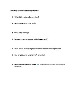 Annie Jump Cannon Reading Comprehension Questions