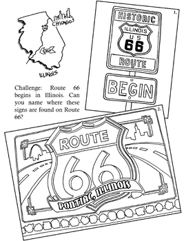 Annie Mouse's Adventures: The Coloring Book Illinois Route 66 page
