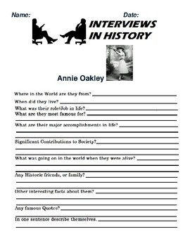 Annie Oakley Research and interview Assignment