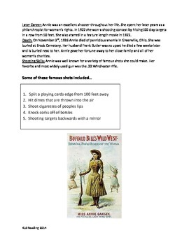 Annie Oakley - Review Article - famous woman - questions vocabulary activities