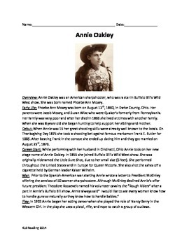 Annie Oakley - Review Article - famous woman - questions v