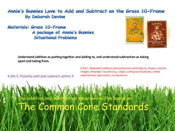 Annie's Bunnies Love to Add and Subtract on the Grass Lined Ten Frame