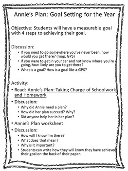 Academic Achievement Lesson - Annie's Plan Goal Setting