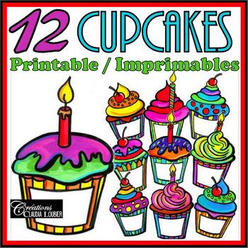 Cliparts: Birthday Cupcakes - Gâteaux d'anniversaire