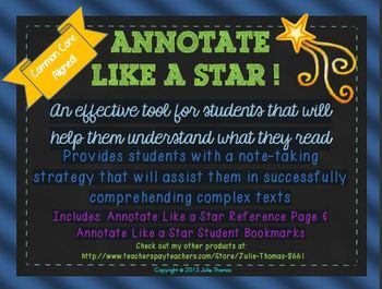 Annotate Like A Star! Reference Guide & Student Bookmarks