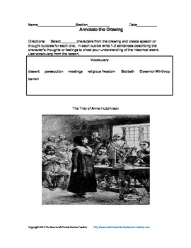 Annotate the Drawing - The Trial of Anne Hutchinson
