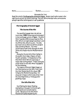 Annotate the Text- The Geography of Ancient Egypt