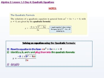 Annotated: Algebra 2: CU 3: 1.5 Day 4: Quadratic Equations