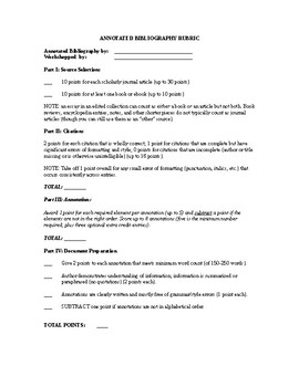 Annotated Bibliography Assignment, Sample, Workshop, Rubric