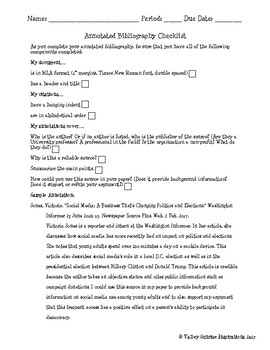 Annotated Bibliography Checklist