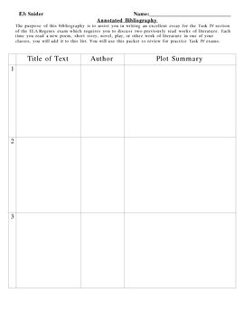 Annotated Bibliography Cover Sheet