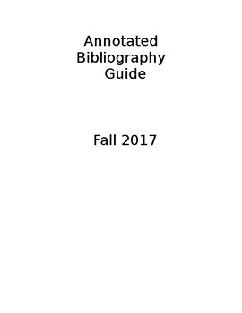 Annotated Bibliography Guide Packet & Rubric