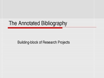 Annotated Bibliography Lesson Plan