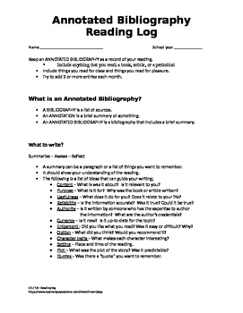 Annotated Bibliography Reading Log