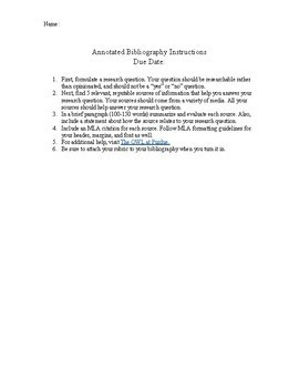 Annotated Bibliography Rubric and Instructions