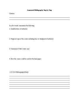 Annotated Bibliography Step By Step