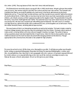 Annotated Bibliography example and worksheet