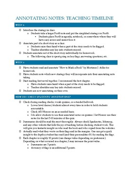 Annotated Notes Resources- Teacher Timeline & Grading Information