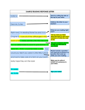 Annotated Sample Reader's Response Letter