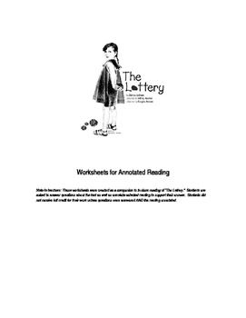 Annotated Worksheets for The Lottery by Shirley Jackson
