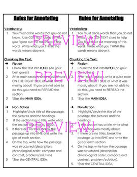Annotating Rules Bookmark and Rubric