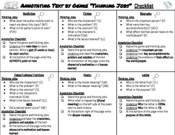 Annotating Text Checklist -Thinking Jobs by Genre