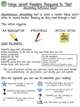 Annotating/Annotations-Reference Sheet, Bookmark for ANY PIECE of LITERATURE!