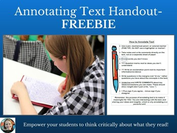 Annotating Text Handout-Common Core Skill!