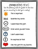 Annotating Text for Close Reading Student Handout (kinder-2nd grade)